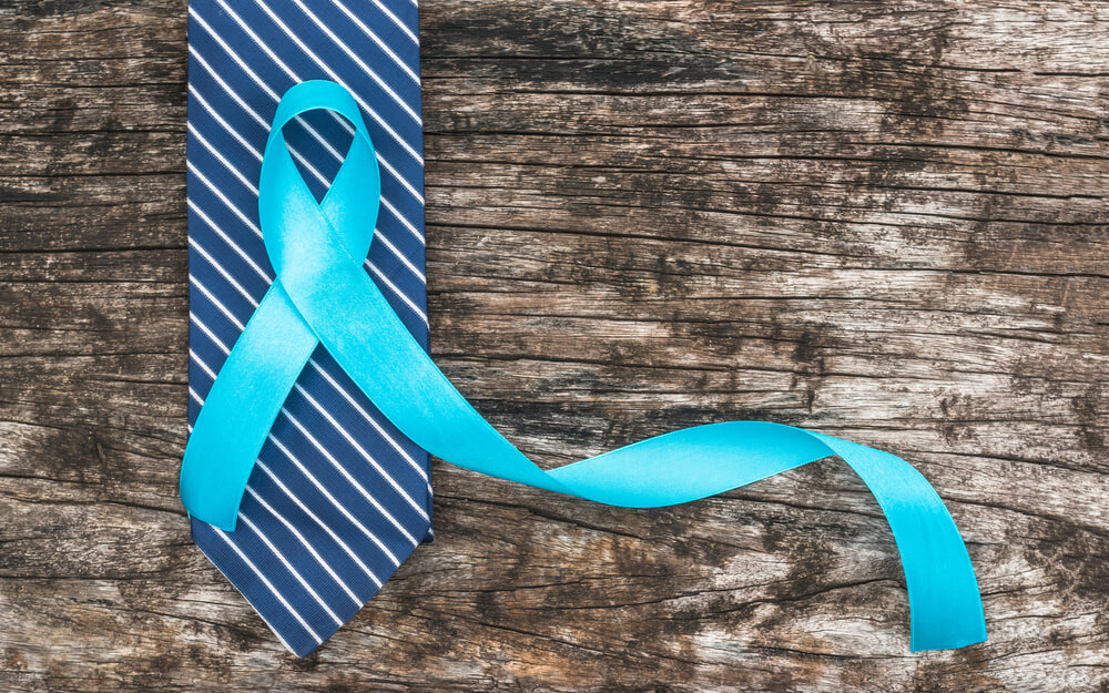 Blue ribbon symbolic for prostate cancer awareness campaign and men's health in November month