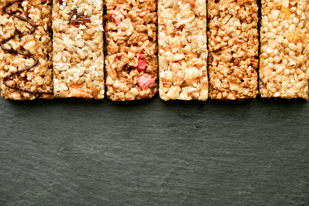 row of various granola bars