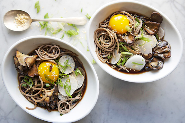 Soba and Maitake Mushrooms in Soy Broth Recipe Epicurious