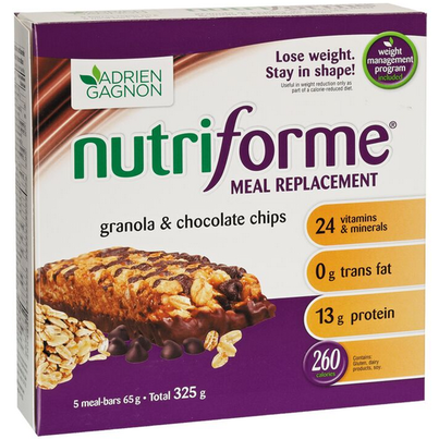 Adrien Gagnon Nutriforme Meal Replacement Granola and Chocolate Chip Bars
