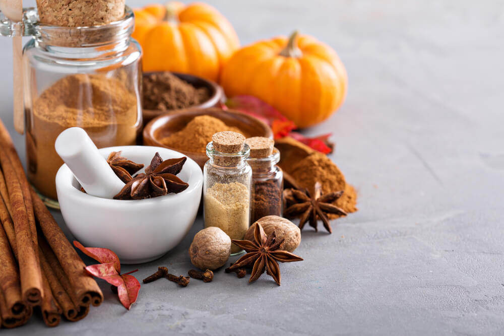 Homemade pumpkin spice in a glass jar