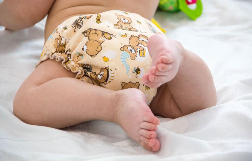 baby bum in tiger print cloth diaper