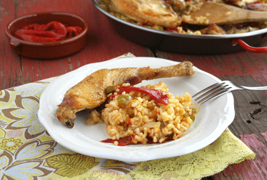 Simple Paella with Chicken and Roasted Red Peppers from Simple Bites