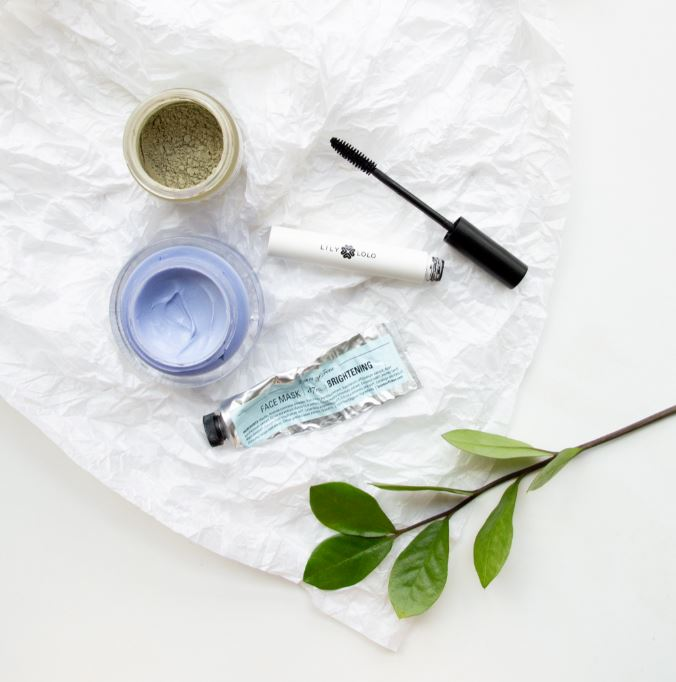 flat lay of beauty products on white table with plant