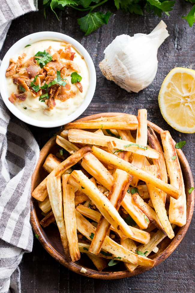 Parsnip Fries With Bacon Aioli From Paleo Running Momma