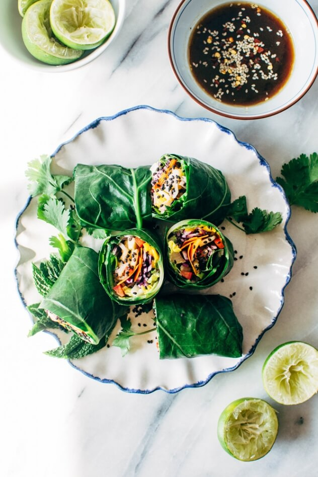 Rainbow Collard Green Spring Rolls With Shrimp From Nyssa's Kitchen