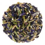 Flat lay of loose leaf tea on white background
