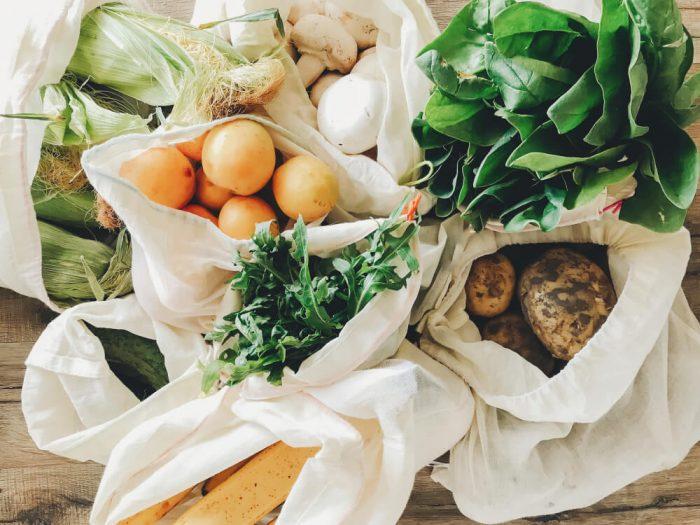 fresh produce in reusable mesh bags