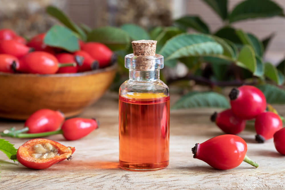 Rosehip Oil in clear bottle
