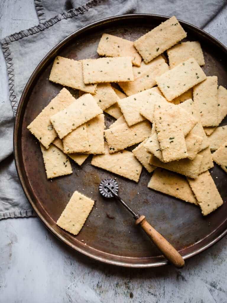 keto crackers on white background