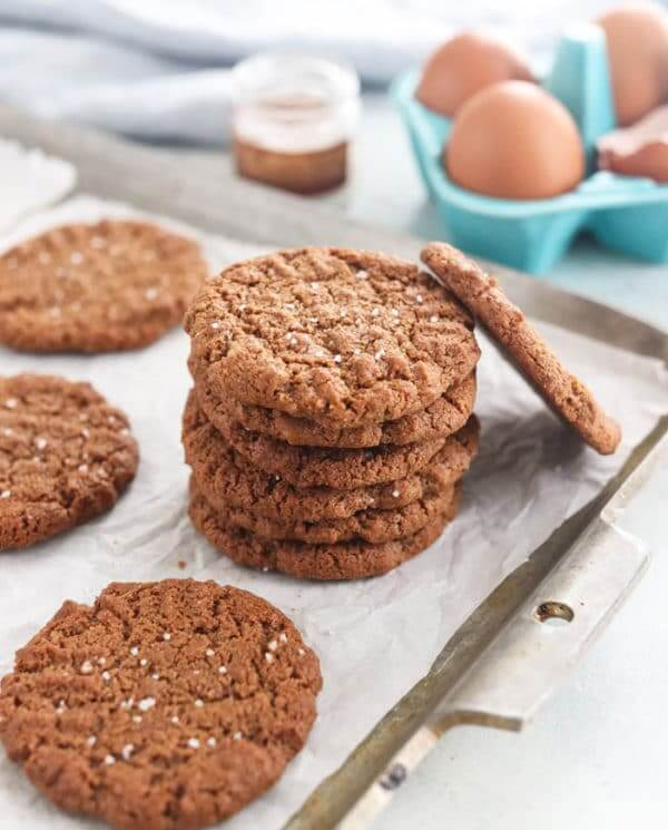 almond butter cookies on white plate