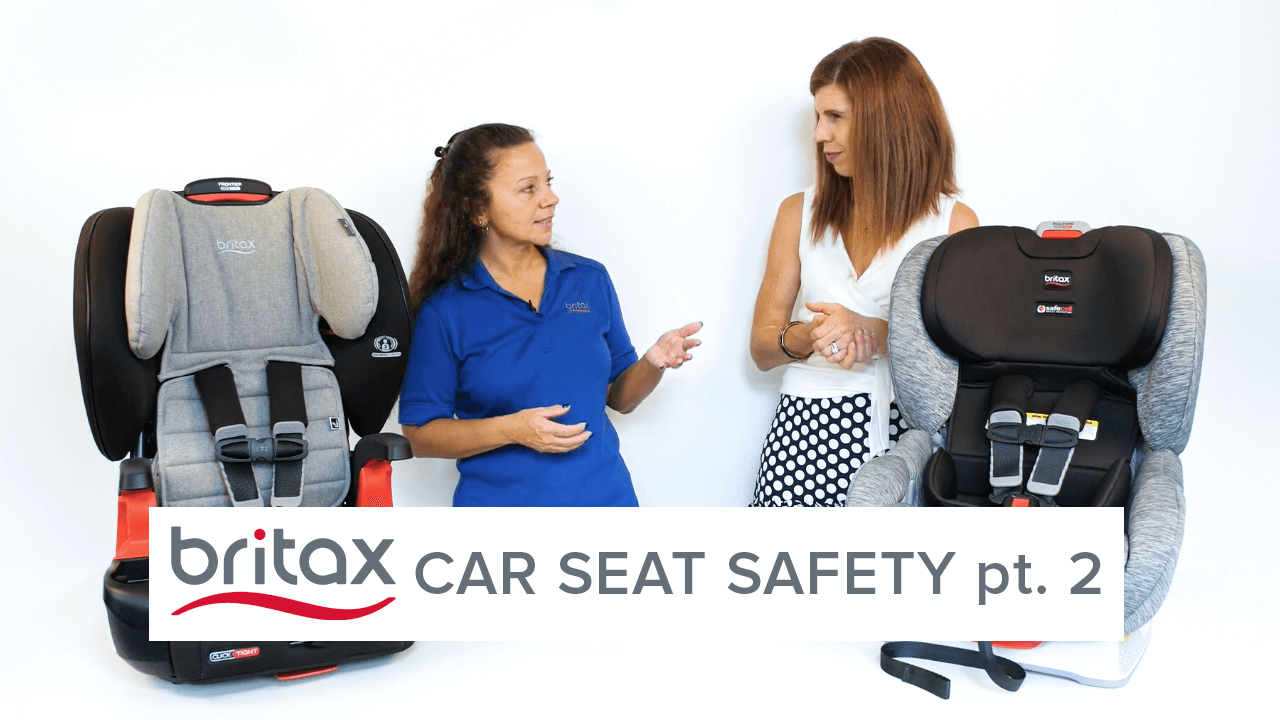 Two women talk about car seats