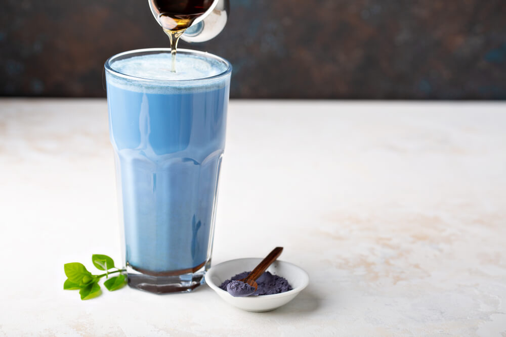 Tall Glass of Blue Butterfly Pea latte