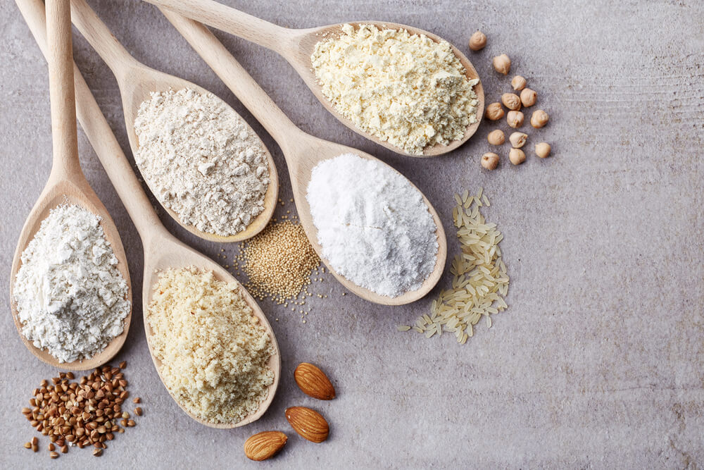 5 wooden spoons with gluten-free flour options