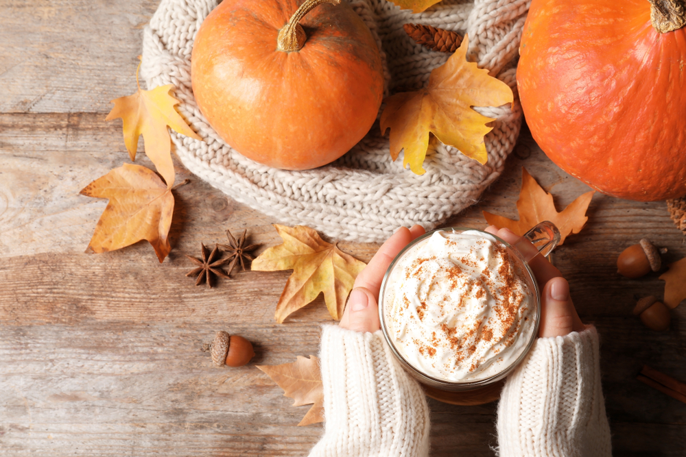 Female hands holding a latte beside a pumpkin