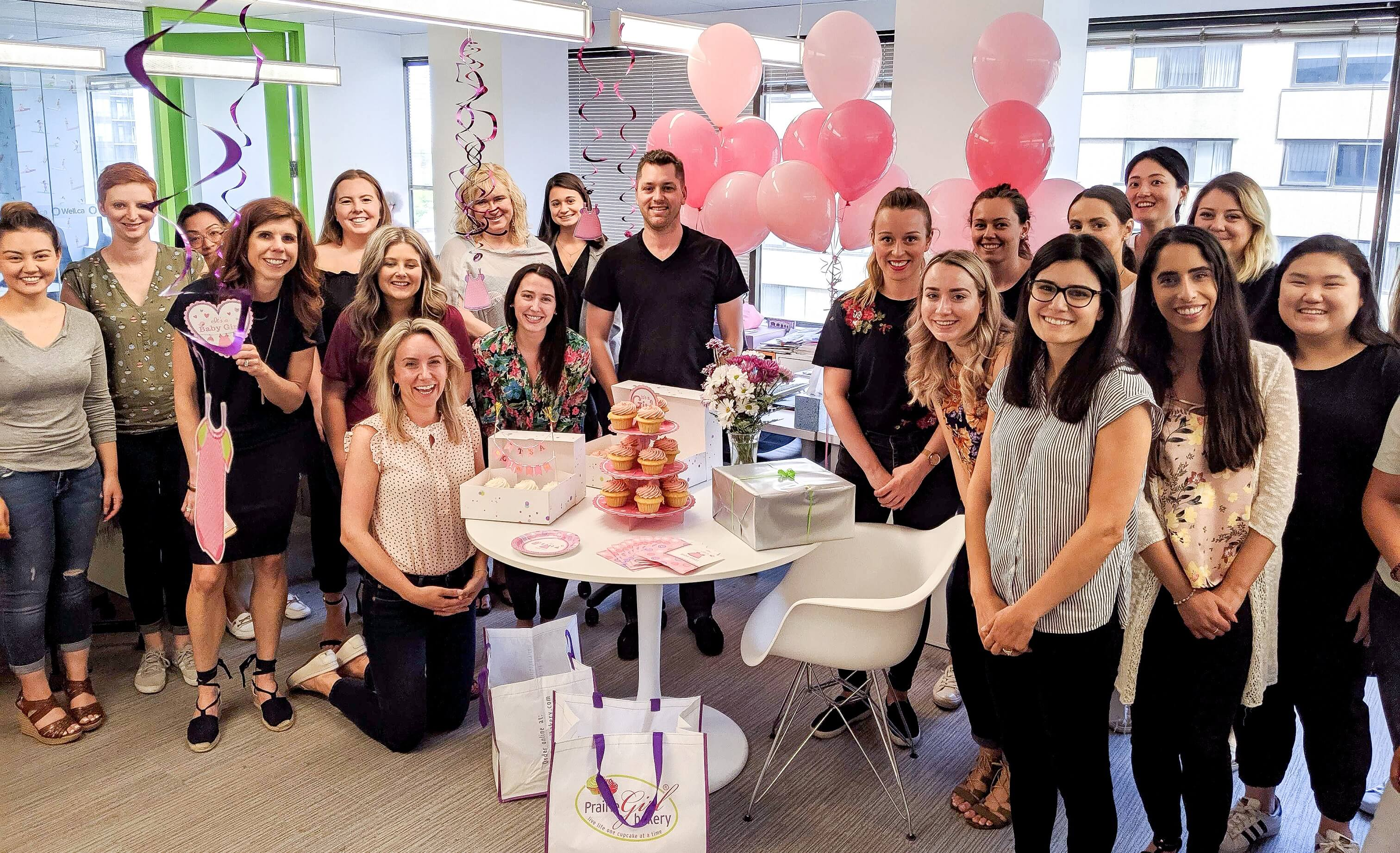 Baby shower with pink balloons