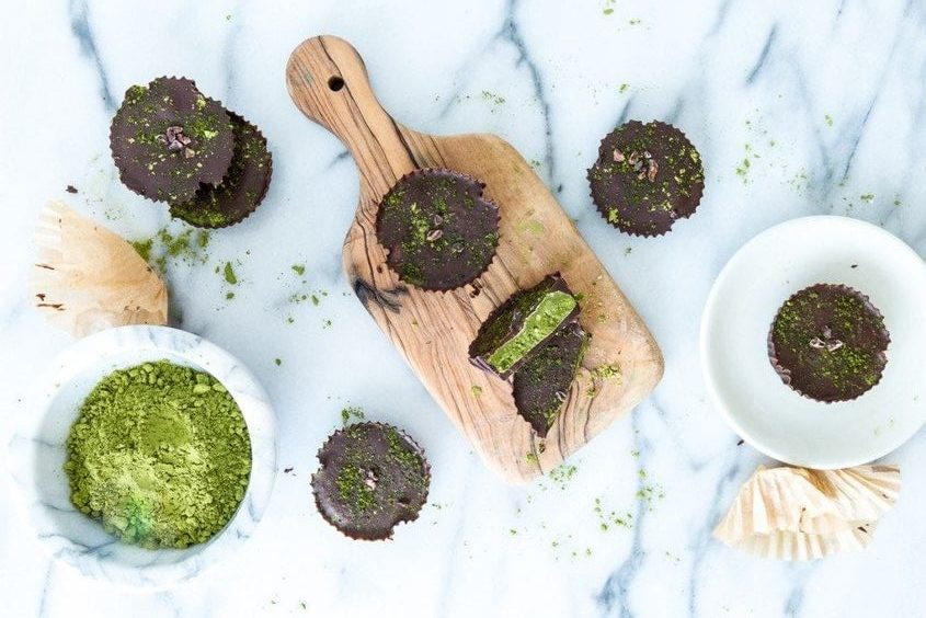 matcha dark chocolate cups