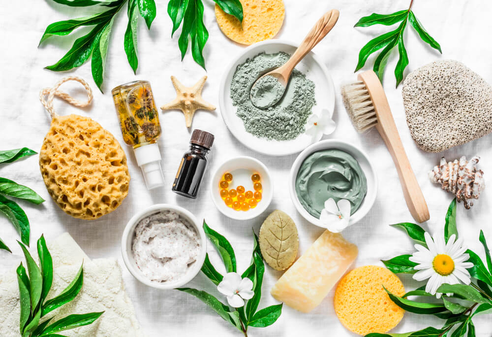 flat lay of skin supplements