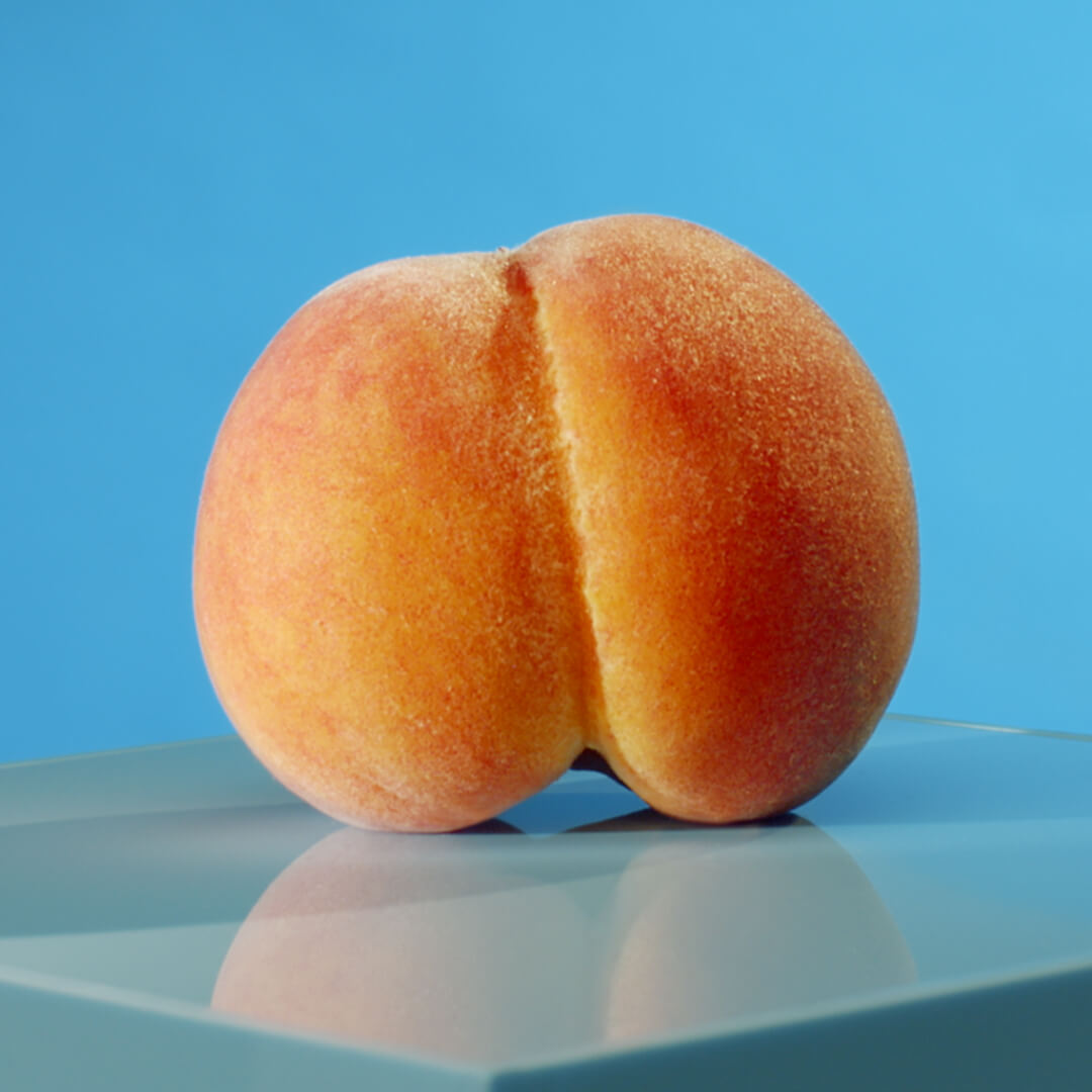 peach on blue background