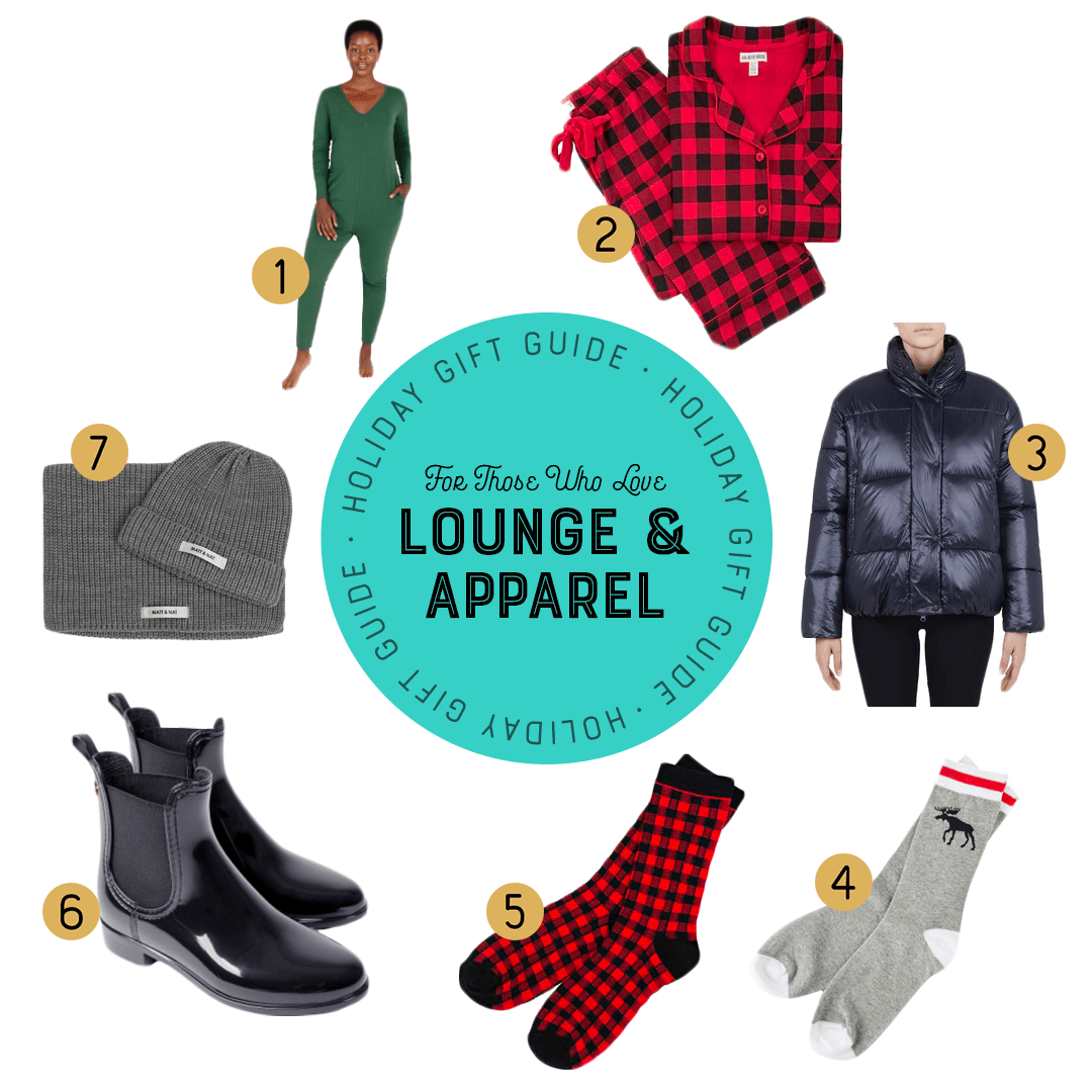 cozy holiday lounge wear items on a white background