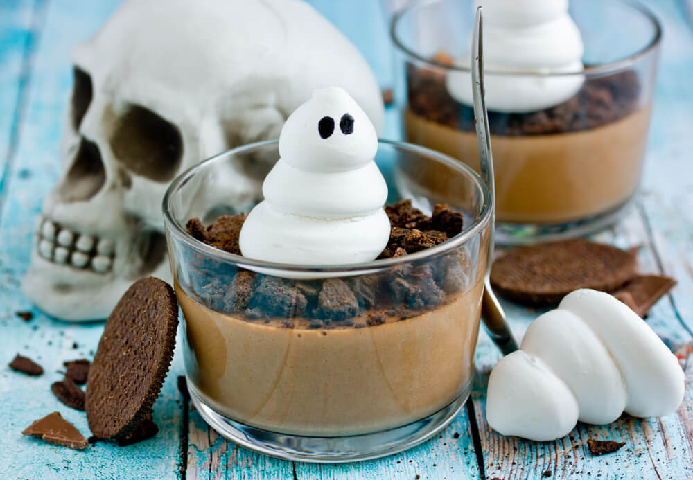 chocolate pudding with topping that looks like a ghost