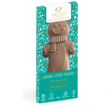 blue chocolate bar packaging with a chocolate gingerbread man