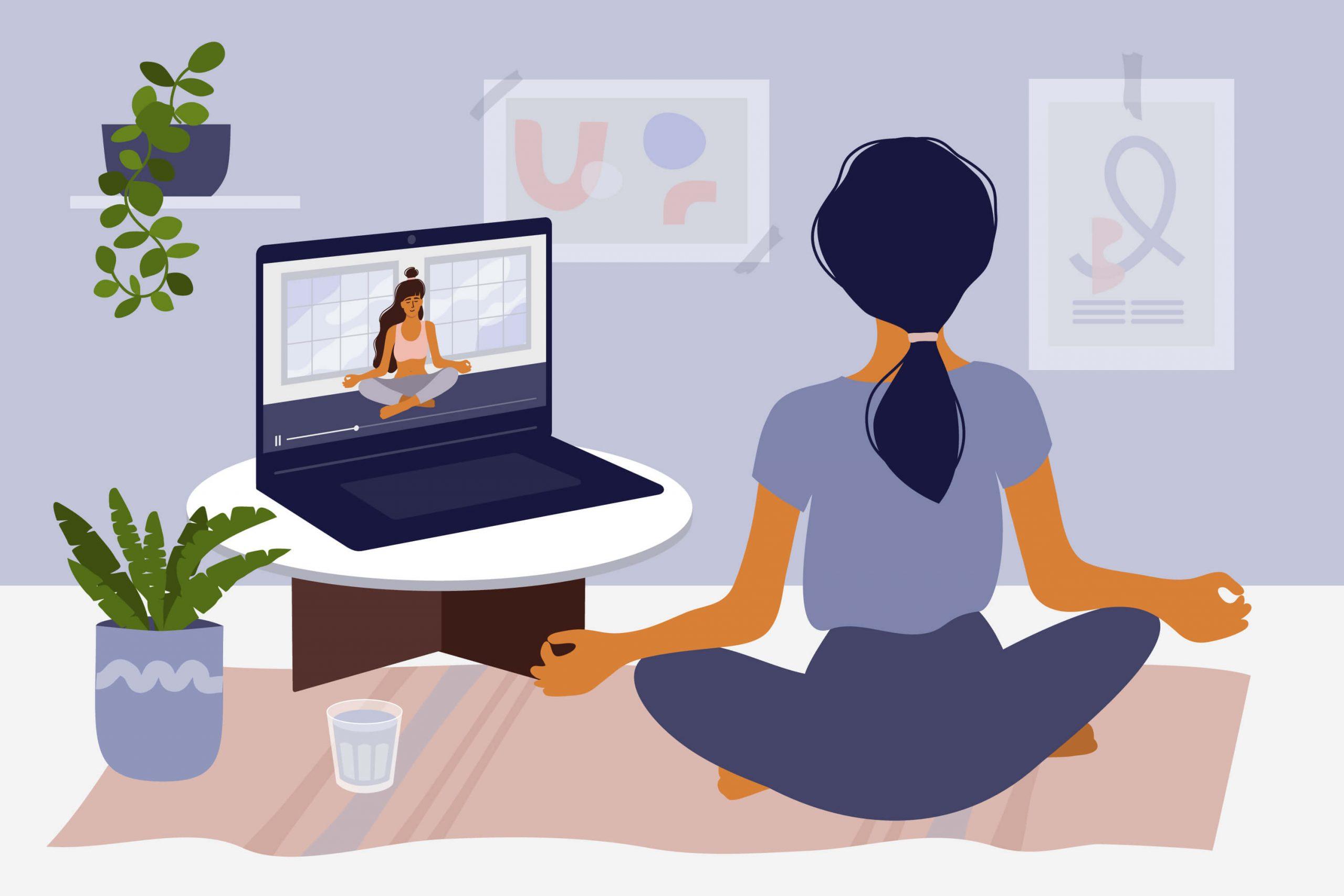 animated image of woman practicing virtual yoga