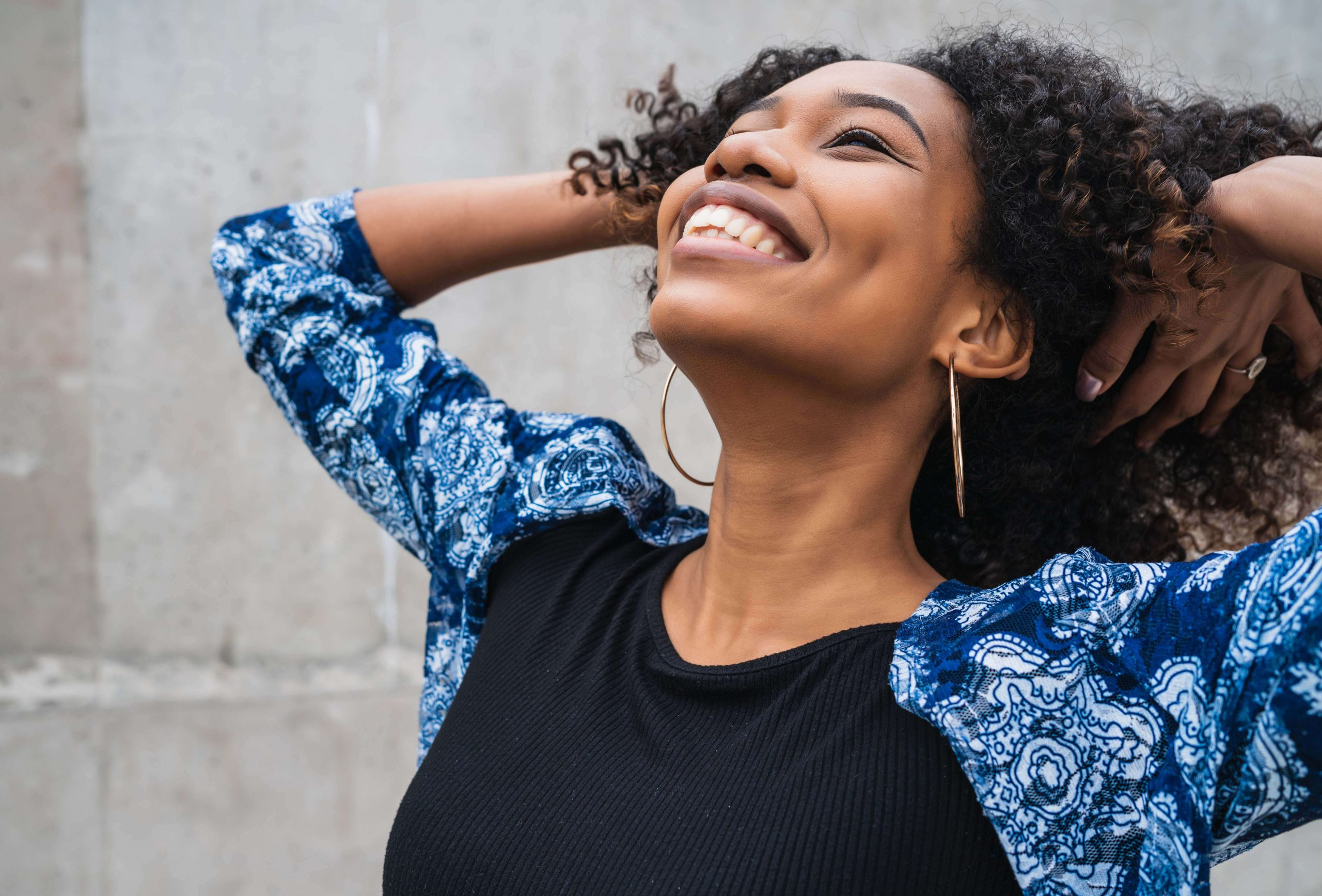 Happy and smiling African American woman