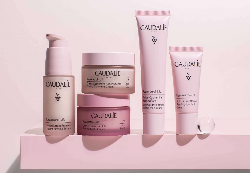 Caudalie Products in pink packaging