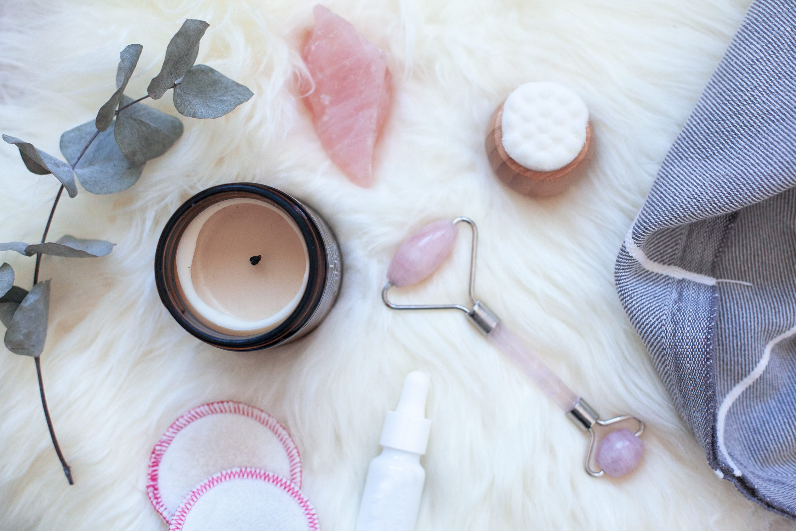 calming beauty products on a soft surface